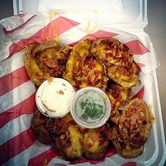 Loaded potato skins from TGI Friday's. They're a bit overrated (and pricey) but decent nonetheless.