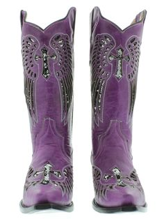 women western boots with purple   Women's Cowboy Boots Ladies Purple Leather Sequins Western Riding ...