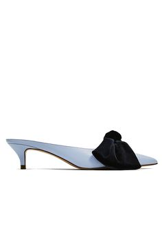 Why Everyone Is Falling Back in Love with the Kitten Heel - Zara Blue Mules with Bow from InStyle.com