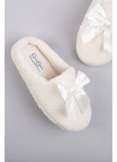 Jessica Simpson Shearling Slippers with Satin Bow Style Ivory, XL Shearling Slippers, Fuzzy Slippers, Bride Slippers, Bridesmaids Heels, Evening Shoes, Satin Bows, Davids Bridal, Faux Fur, Ivory