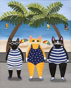 Summer Beach Beauties Original Cat Folk Art by Kilkennycat