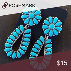 Turquoise Cluster Earrings Brand new turquoise Cluster, Squash Blossom Earrings. Tags: country girl cowgirl jewelry boots western jewelry earrings Boho gypsy tribal Aztec Navajo southern southwest western rodeo cowgirl style miss me dojo Jewelry Earrings