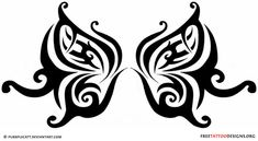 Girly tribal butterfly tattoo design