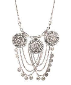 Another great find on #zulily! Burnished Silvertone Medallion Chain Link Bib Necklace #zulilyfinds