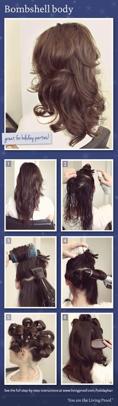 This is exactly how I do a blow out w Velcro rollers Living Proof Holiday Hairstyle: Bombshell body. This is exactly how I do… My Hairstyle, Pretty Hairstyles, Gorgeous Hair, Beautiful, Holiday Hairstyles, Great Hair, Up Girl, Hair Today, Hair Dos