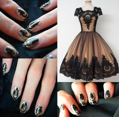 Nail art Praline&Caramel lace  Dress on www.chotronette.com