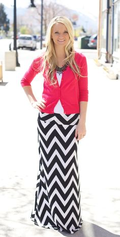 I like the whole outfit idea but I'd probably wear a skirt with smaller stripes or a less bolder print.