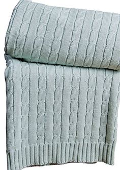 Homescapes - Cable Knit - Throw - Duck Egg Blue - 100% Cotton - 130 x 170 cm - Washable Sofa Throw or Bed Blanket: Amazon.co.uk: Kitchen & Home