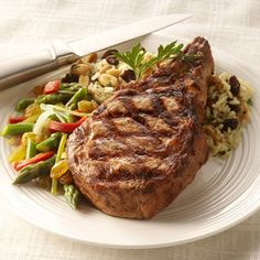 Grilled Veal Chop with Raisin-Rice Pilaf - Price Chopper Recipe