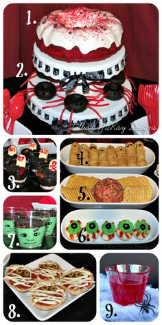 Great ideas:  1.Vampire Blood Cake {First Street Red Velvet Bundt Cake}   2.Black Spider Donuts {Using First Street Donuts}   3.Grave Yard Pudding   4.Mummy Hot Dogs   5.Brain Cheese Ball   6.Monster Eye Eggs   7.Frankenstein Pudding   8.Mummy Pizza   9.Vampire Blood Juice