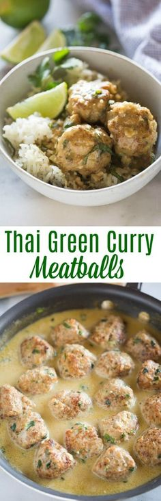 These simple and easy Thai Green Curry Meatballs are busting with flavor and completely addicting. It's an added bonus that they're healthy, and made with fresh ingredients. #meatballs #curry #dinner #easy