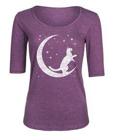 Another great find on #zulily! Heather Purple Crescent Cat Three-Quarter Sleeve Tee #zulilyfinds