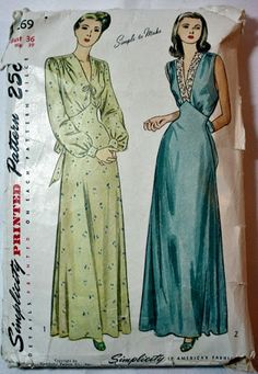 Negligee (gown and robe set)... Negligee = neglected (as in housecoat, houserobe)... Peignoir = also means basically the same thing, or something one wears while combing one's hair, etc.