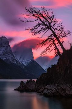 Sunset over St Mary Lake (Glacier National Park, Montana) by Mark Metternich