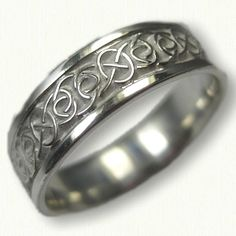 Sterling Silver Celtic Seaforth Wedding Band - Available In All Metals and Sizes Layered Necklaces Silver, Sterling Silver Necklaces, Silver Rings, Celtic Wedding Bands, Wedding Rings, Diamond Jewelry, Jewelry Rings, Bracelets For Men, Rings For Men