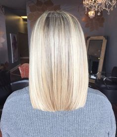Bright blonde and a blunt cut, fave combo! Cut & color by Alexandria!