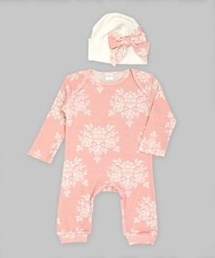 Look at this Truffles Ruffles Bella Brocade Bow Playsuit & Beanie - Infant on #zulily today!