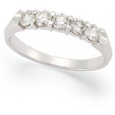 Certified Five-Stone Diamond Anniversary Band Ring in 14k White Gold... ($2,800) ❤ liked on Polyvore featuring jewelry, rings, accessories, aneis, anel, no color, anniversary rings, diamond anniversary rings, round cut diamond rings and anniversary band rings