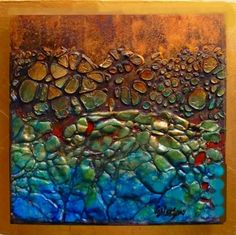 TIDEPOOL 11038 daily painter mixed media contemporary abstract Carol Nelson Fine Art, painting by artist Carol Nelson