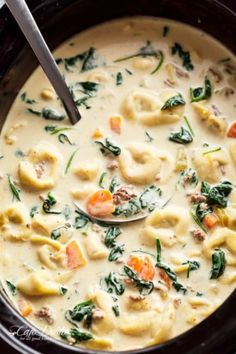 Slow Cooker Creamy Tortellini Soup is pure comfort food, loaded with vegetables, Italian sausage and cheese tortellini! NO flour and NO heavy cream! This Slow Cooker Creamy Tortellini Soup is one of my favourite recipes! Slow Cooker Tortellini Soup, Creamy Tortellini Soup, Slow Cooker Pasta, Tortellini Recipes, Crock Pot Soup, Slow Cooker Recipes, Crockpot Recipes, Cooking Recipes, Oven Recipes