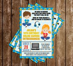 Novel Concept Designs - Virtual - Gamer - Birthday Party - Invitation