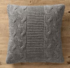 This pattern looks easy enough. I can probably figure it out and knit my own. I saw some knitted covered at Pottery Barn that would be more fun to knit than to buy. Italian Wool & Alpaca Cable Knit Pillow Cover Grey