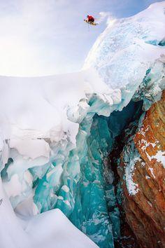The Daily Pow: a big huck over a small crack. http://www.adventure-journal.com/2013/12/the-daily-pow-glacial-drop/