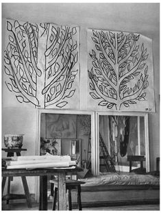 Matisse studio - i like the idea of doing large scale Fine Lines on canvas or even fabric/window coverings.
