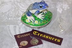Frog Lilly Pad Enameled Pewter Austrian Crystal Trinket Box Gift Box & Necklace #Treasures