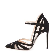 Suede & Mesh Ankle-Strap Pump, Black by Gianvito Rossi