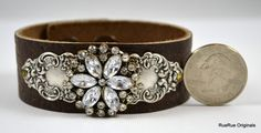 Brown Leather Cuff Bracelet with Silver Stamping and Rhinestone Medallion - Vintage Inspired and Repurposed Handmade Jewelry on Etsy, $40.00