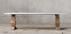 Salvaged Wood & Marble Trestle Natural and Marble Rectangular | Restoration Hardware