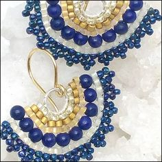 Micro-mosaic earrings handcrafted from Japanese glass, lapis lazuli, sterling silver and gold. Lapis Lazuli, Artisan Jewelry, Mosaic, Jewelry Design, Fan, Pearls, Sterling Silver, Earrings, Gold