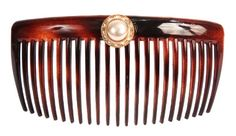 Caravan Hand Decorated French Tortoise Shell Back Comb with Pearl and Swarovski stones In Gold Setting Large 65 Ounce ** Click image to review more details.(This is an Amazon affiliate link and I receive a commission for the sales)