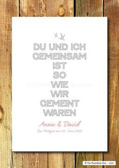 Druck/Wandbild: Gemeinsam - Hochzeit/Verlobung von Die Persönliche Note auf DaWanda.com