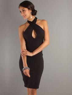 A-line Halter Short Black Cocktail Dress