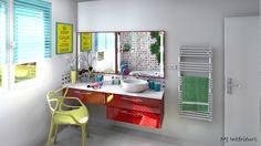 Salle de bain multicolore, pleine de peps !