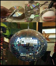 Disco Ball Project made from old CDs. It is questionable that disco balls are not sometimes categorized as tacky, but their fun!