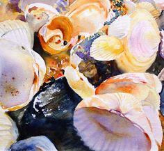Shells Still Life Original Watercolour Painting SFA Small format art. $70.00, via Etsy.