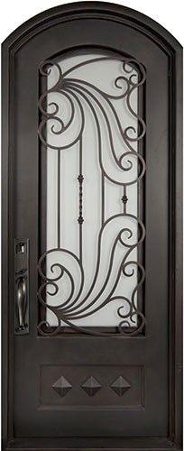 40x82 Ocean Wave Iron Door. Beautiful wrought iron front entry door with grille from Door Clearance Center.