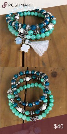 Bracelet This is a beautiful stackable bracelet is one bracelet is blue aqua quartzite stone beads Jewelry Bracelets
