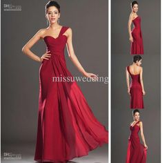 Wholesale Evening Dress - Buy Burgundy One Shoulder Column Chiffon Ruffles Open Back Sexy Long Eveniang Dresses Ball Gown Prom Gow, $100.0 | DHgate