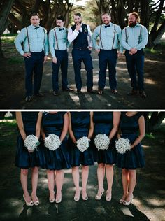 Navy bridal party styling for vintage wedding   Elk & Willow Photography   See more: http://theweddingplaybook.com/rustic-meets-gatsby-wedding/