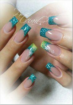 46 Ideas Nails Green Glitter French Tips Acrylic Nail Designs, Nail Art Designs, Acrylic Nails, Pretty Nail Designs, Pretty Nail Art, French Nails, Airbrush Nails, Crazy Nails, Green Nails