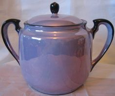 Decorative Bowl - Lidded Purple Lustre Black Trim Elegant Vintage Japan