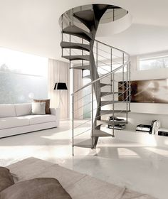 This patented design combines Italian sophistication with the practical benefits of state-of-the-art materials Standard Staircase, Stairs In Living Room, Modern Interior, Interior Design, Stair Railing, New Homes, House Design, Furniture, Spiral Staircases