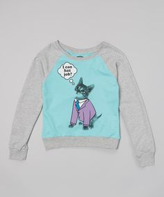 This Teal & Gray Heather Cat Suit Sweatshirt - Girls by Jerry Leigh is perfect! #zulilyfinds
