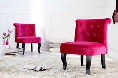 Design Sessel BOUTIQUE Samt pink mit Nackenrolle
