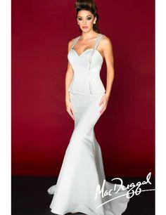 Mac Duggal 82077R Dress - Sweetheart embellished strap evening dress with peplum by Mac Duggal Black White Red #macktak #prom2015 #eveningdresses #macduggal #prom #fashion #gown