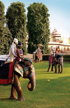 Sleep in regal accommodations such as the Rambagh Palace in Jaipur, a royal residence for 175 years. This sanctuary is rich in texture, design, and furnishings. While there, play polo as the princes did, on the back of an elephant.